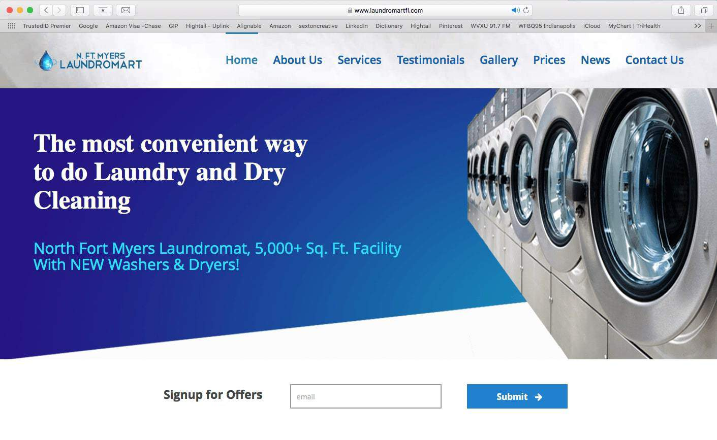 Portfolio example of a launderette website