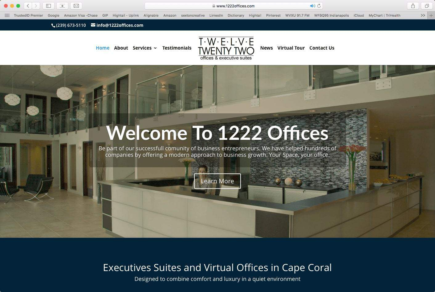 Example of an office space for rent website