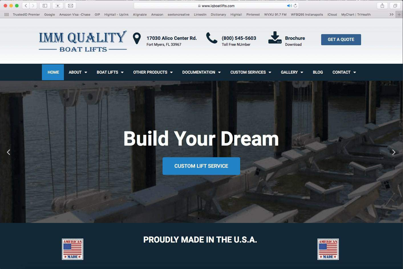 Example of a boat lifting website