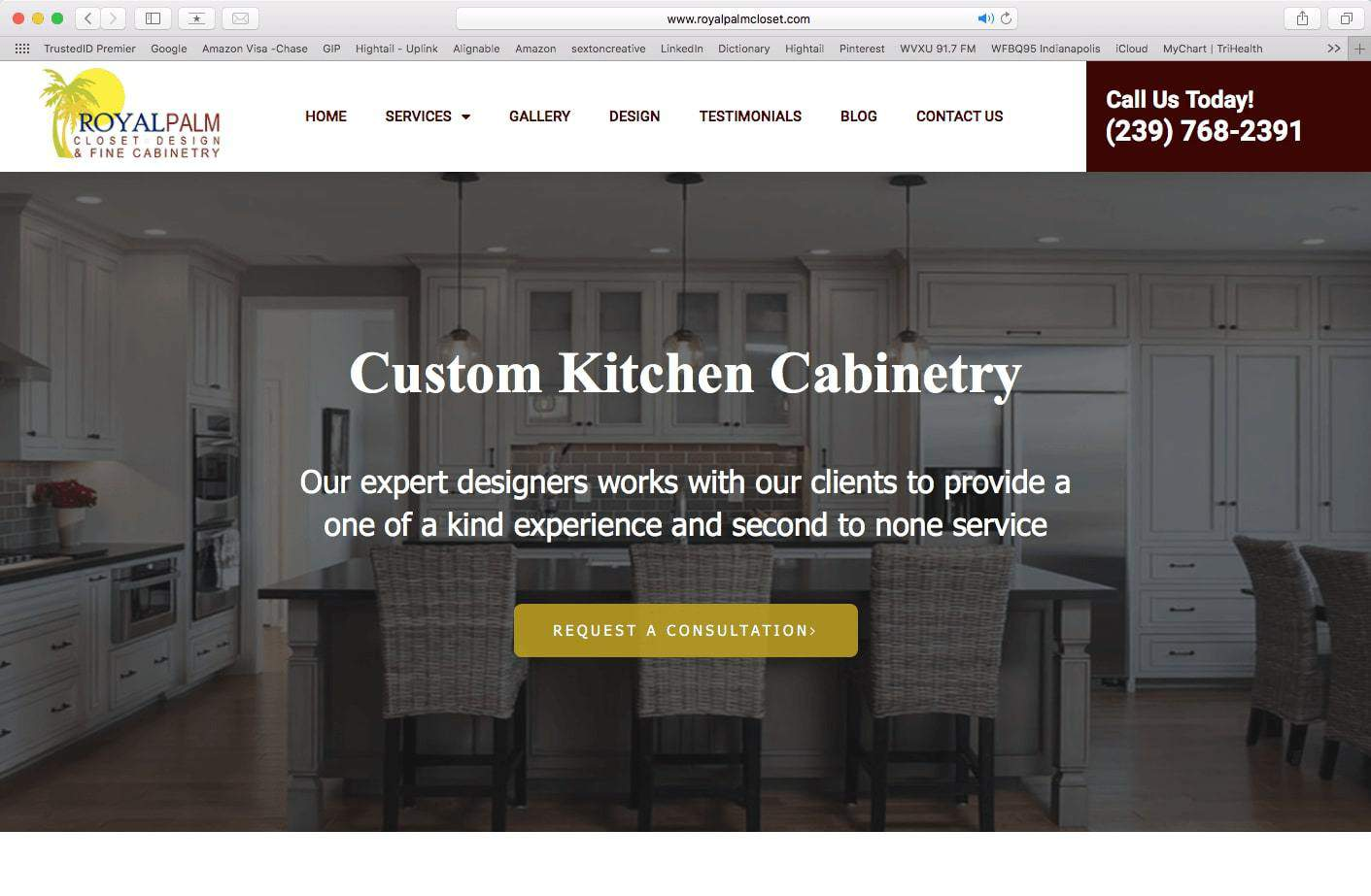 Example of a website for a kitchen cabinet company